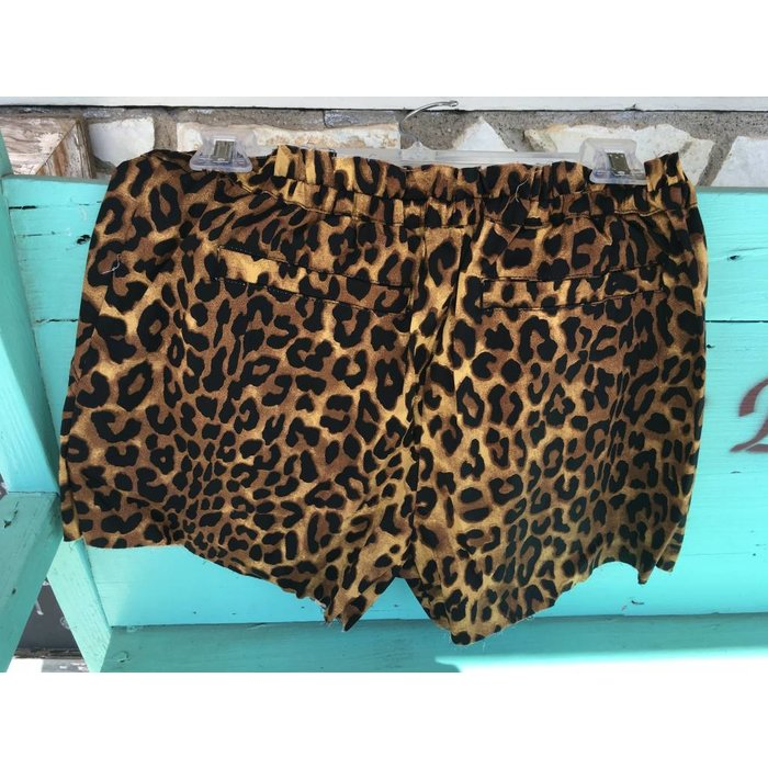 Leopard Print Stretch Waist Shorts