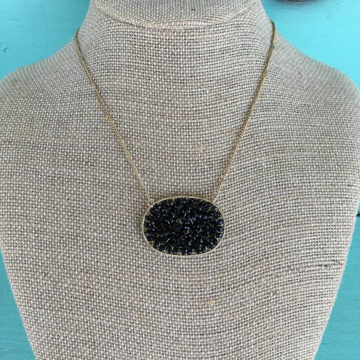 Black Oval Crystal Beaded Necklace with Gold Chain