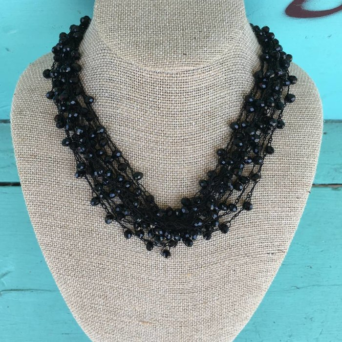 Black Knotted Choker Beaded Necklace Set