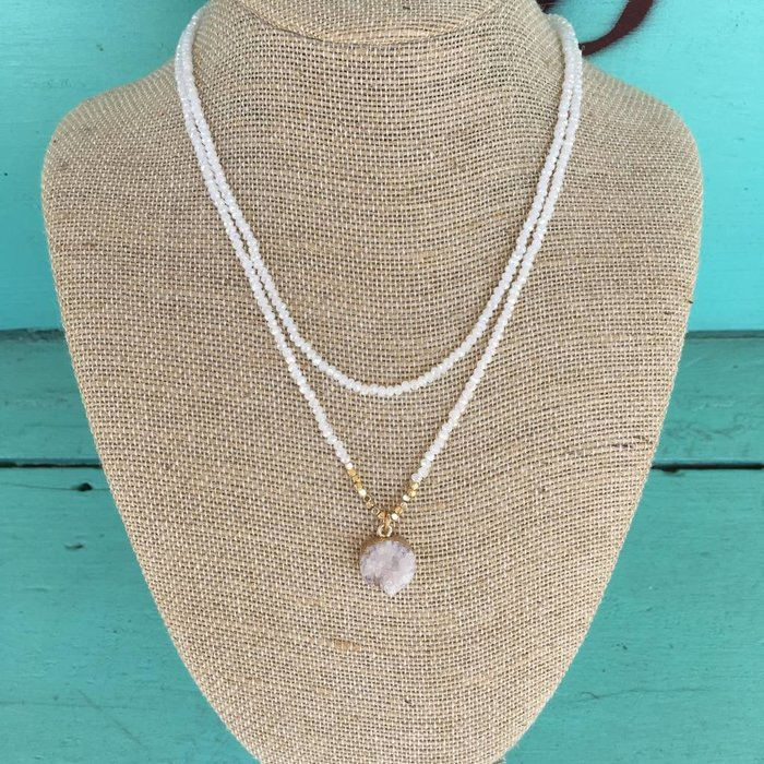 2-Strand Crystal White Druzy Necklace