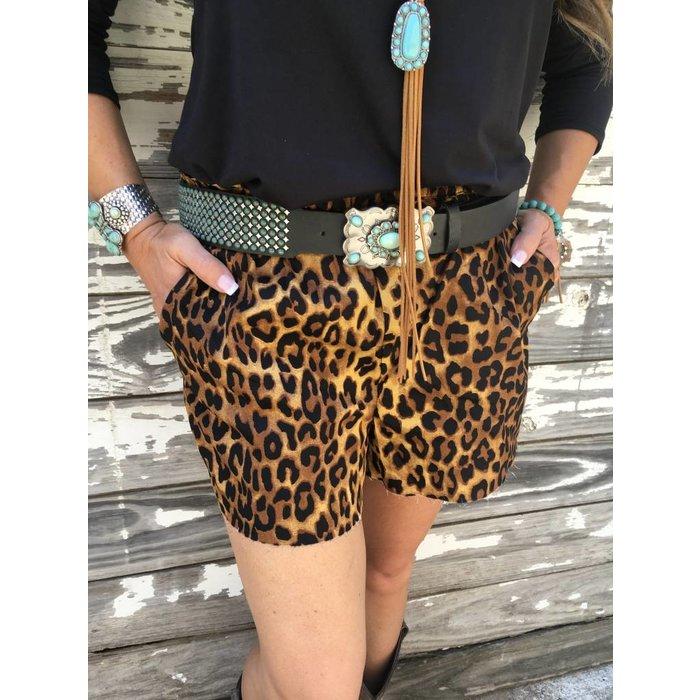 Leopard Print Stretch Waist Shorts