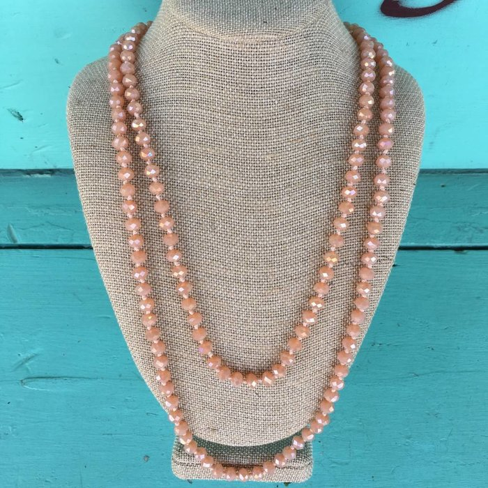 "Dark Peach Crystal 60"" Necklace"