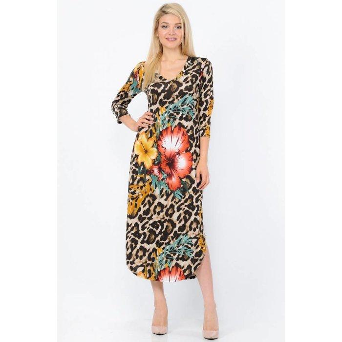 3/4 Sleeve Leopard Floral Maxi Dress