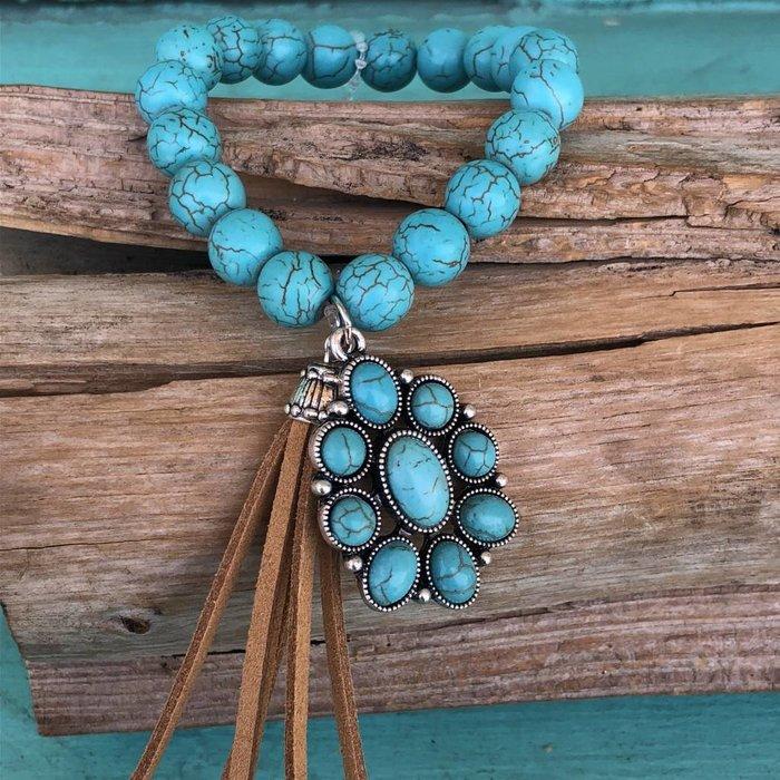Turquoise Stretch Tassel Medallion Bracelet