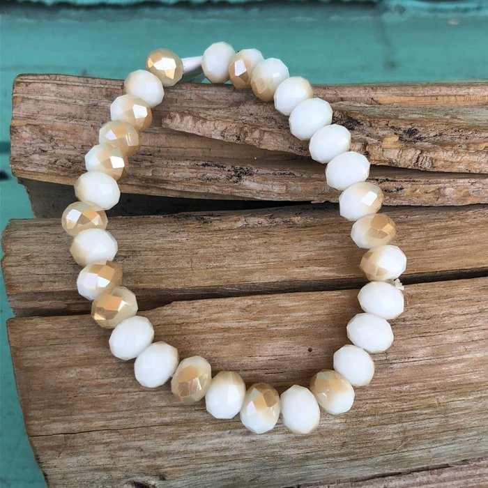Tan & White Marble Crystal Stretch Bracelet