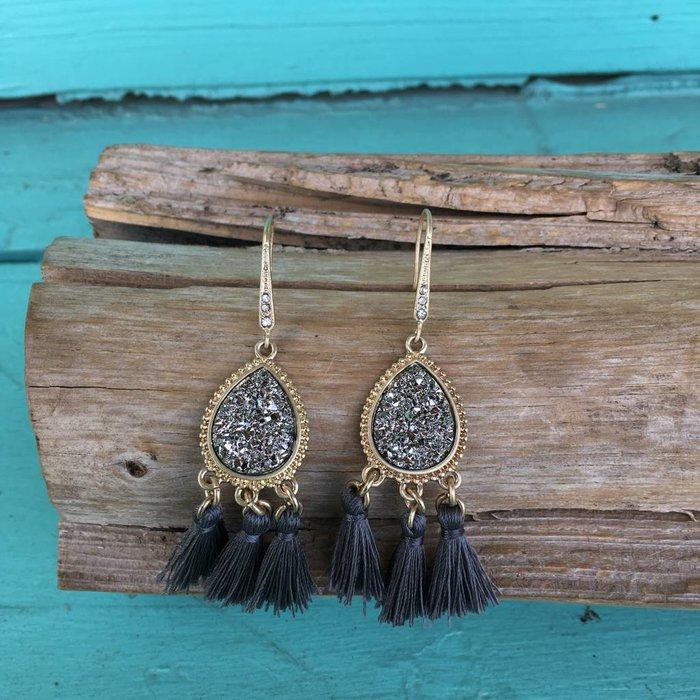 Charcoal Druzy Tassel Earring