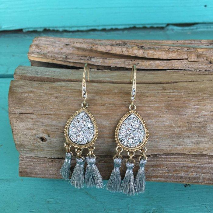 Silver Druzy Tassel Earring