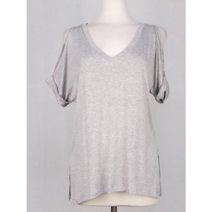Grey Solid V-Necked Cold Shoulder Top