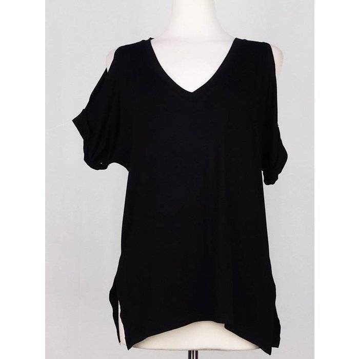 Black Solid V-Necked Cold Shoulder Top