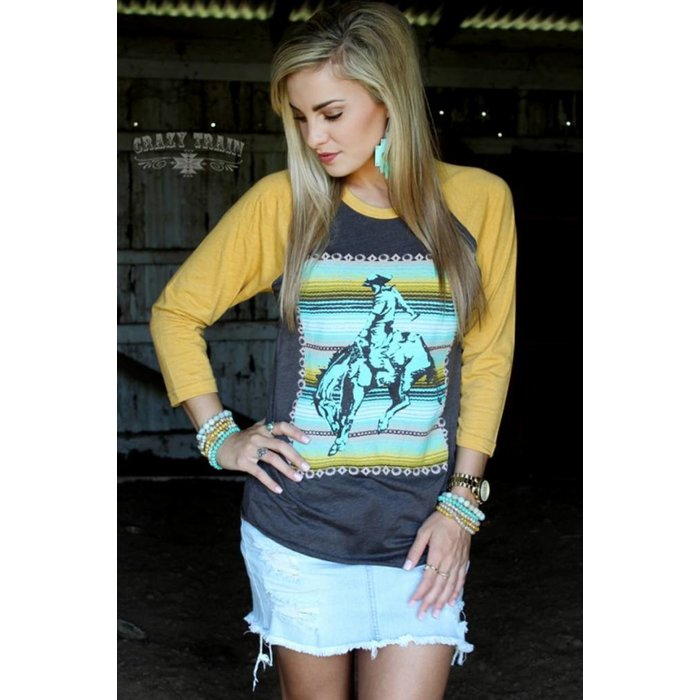 The Cowboy Way Mustard Sleeve Top