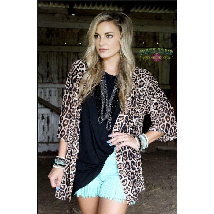 Kitty Kitty Bang Bang  Leopard Kimono - ONE SIZE