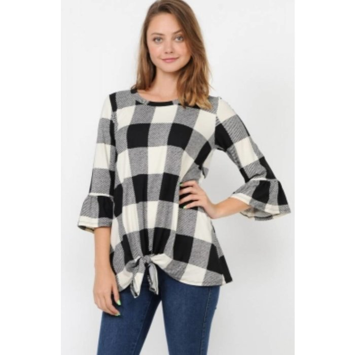Black & White Bell Sleeve Front Tie Top
