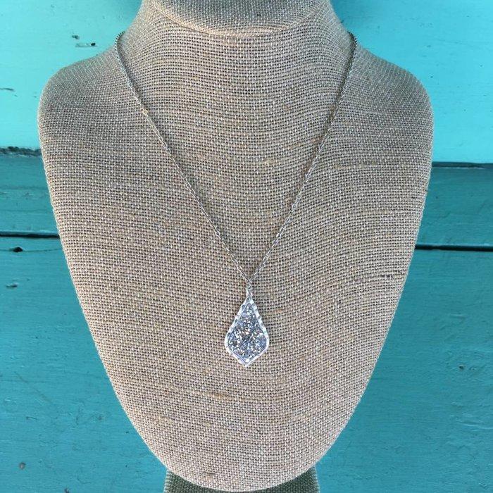 Silver Glitter Damask Charm Necklace Set