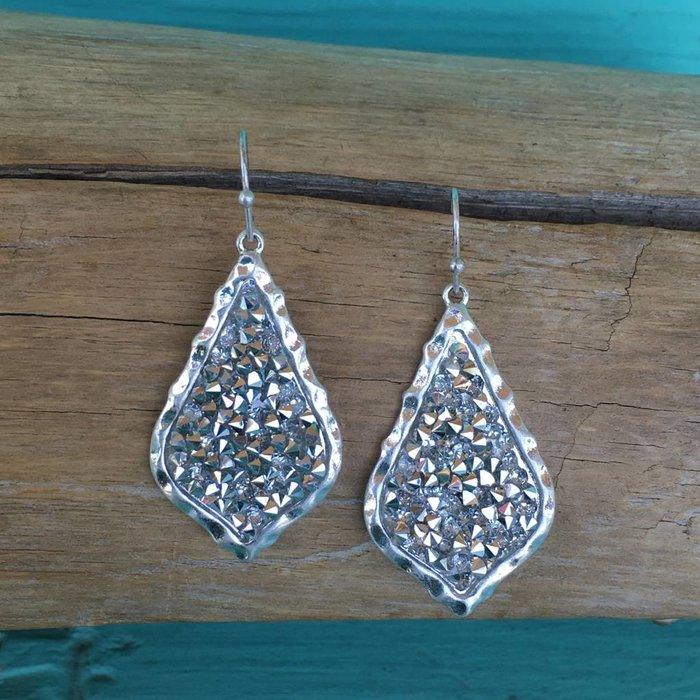 Silver Bling Damask Crystal Earrings
