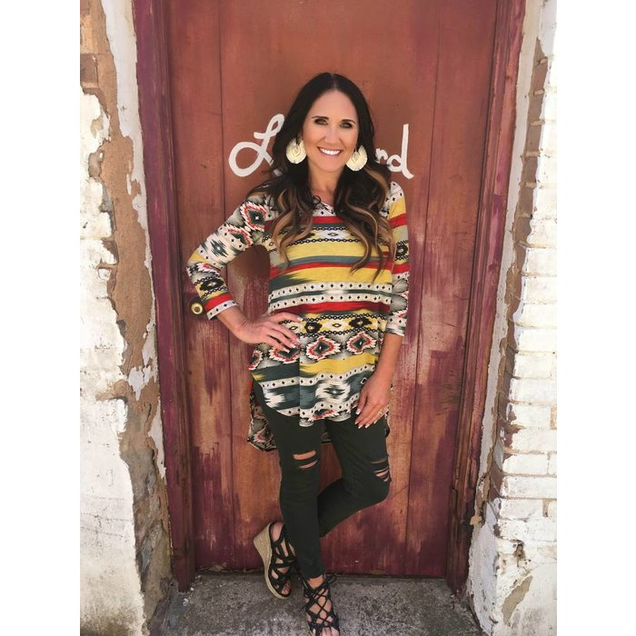 Amarillo Aztec V-Neck 3/4 Sleeve Tunic