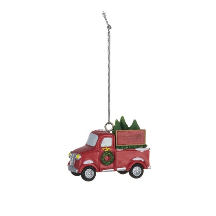 Red Truck Polystone Christmas Ornament