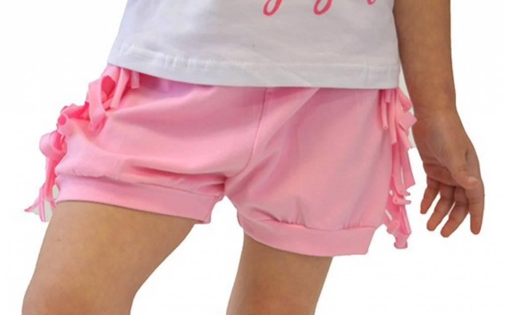 Kids Pink Fringe Cotton Shorts Theblingboxonline Com