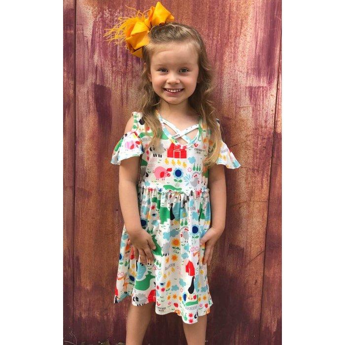 Kids Barn Yard Cold Shoulder Dress
