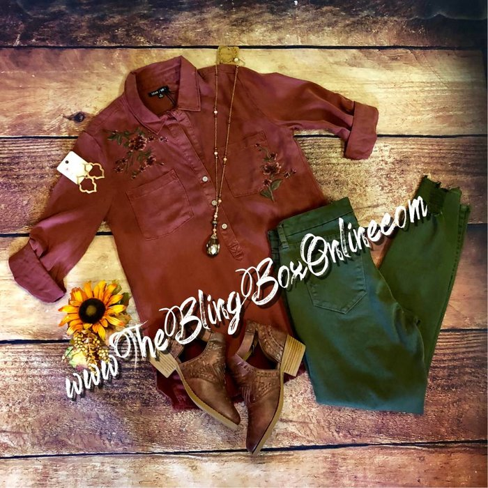 Sangria - Emily 3/4 Sleeve Shirt with Floral Embroidery