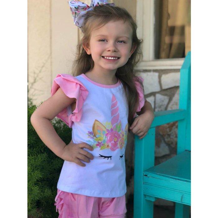 Kids Pink Ruffle Sleeve Unicorn Top