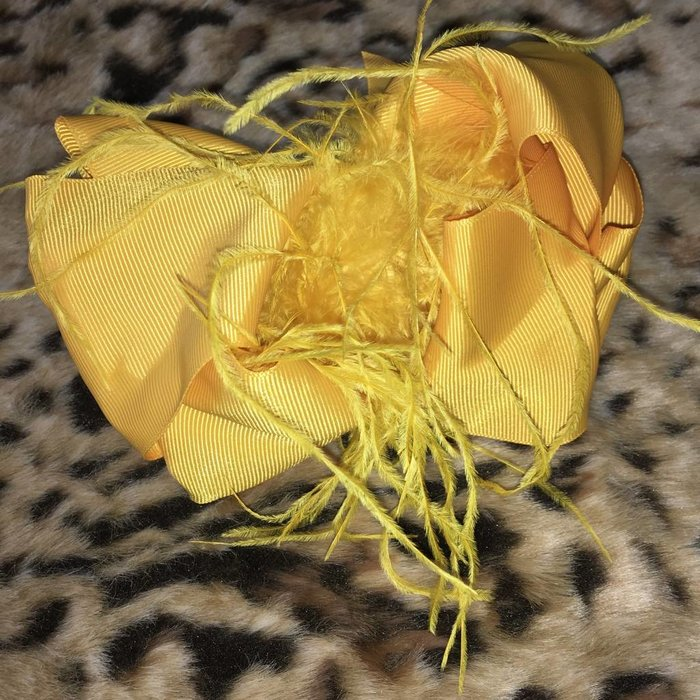 Mustard Bow with Ostrich Feather