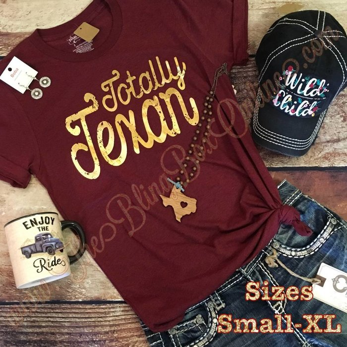 Gold Foil Totally Texan Maroon T-Shirt