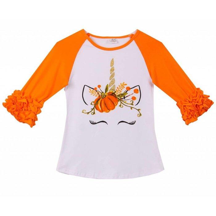 Unicorn Fall Pumpkin Raglan Ruffle Top