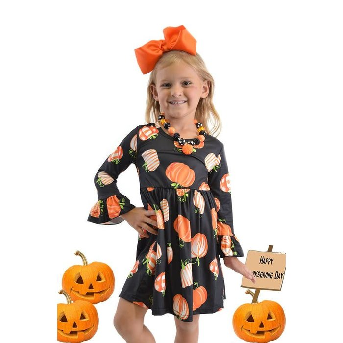 Kids Black Long Sleeve Pumpkin Dress