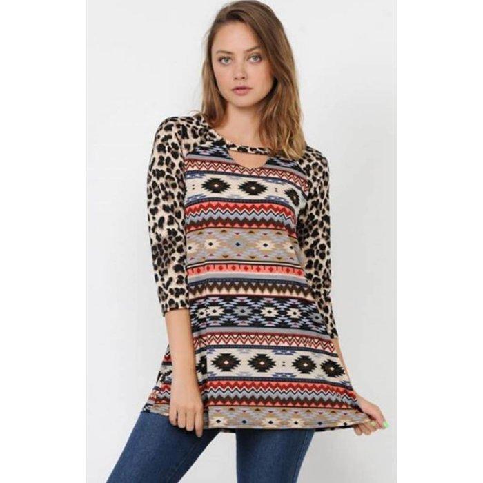 Leopard Aztec Short Sleeve Top