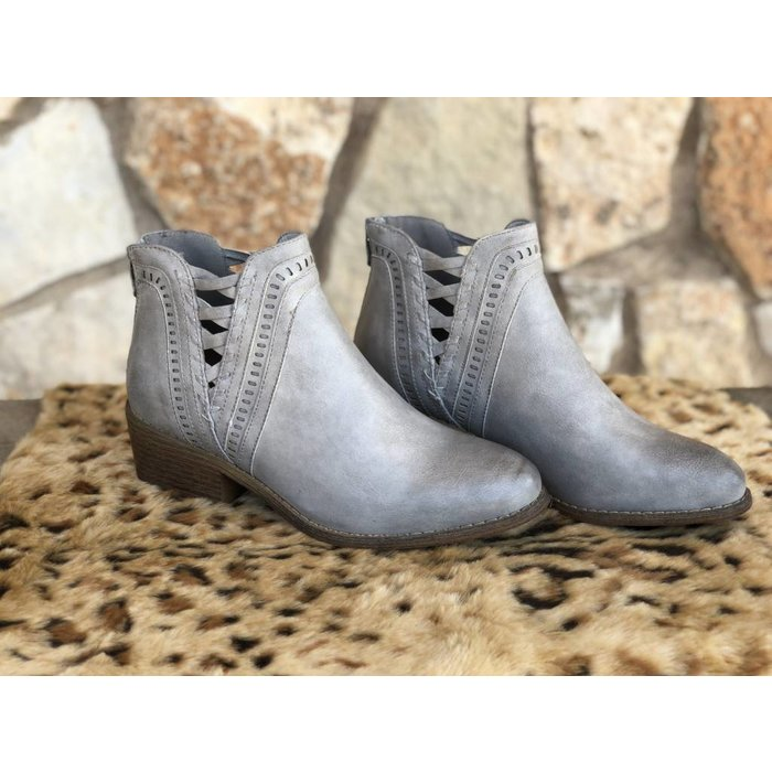 Detailed Grey Bootie Laser Cut Back Zipper