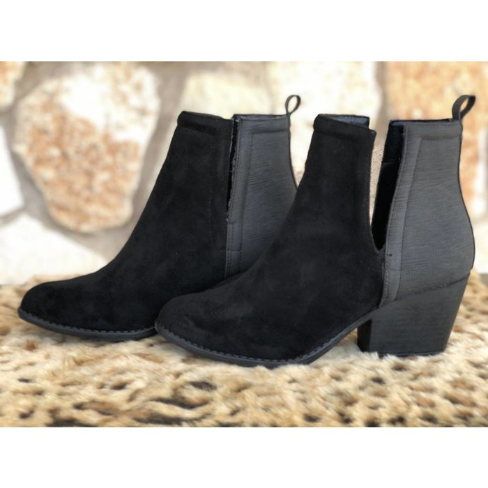 Giant Black Slit Side Slip On Bootie
