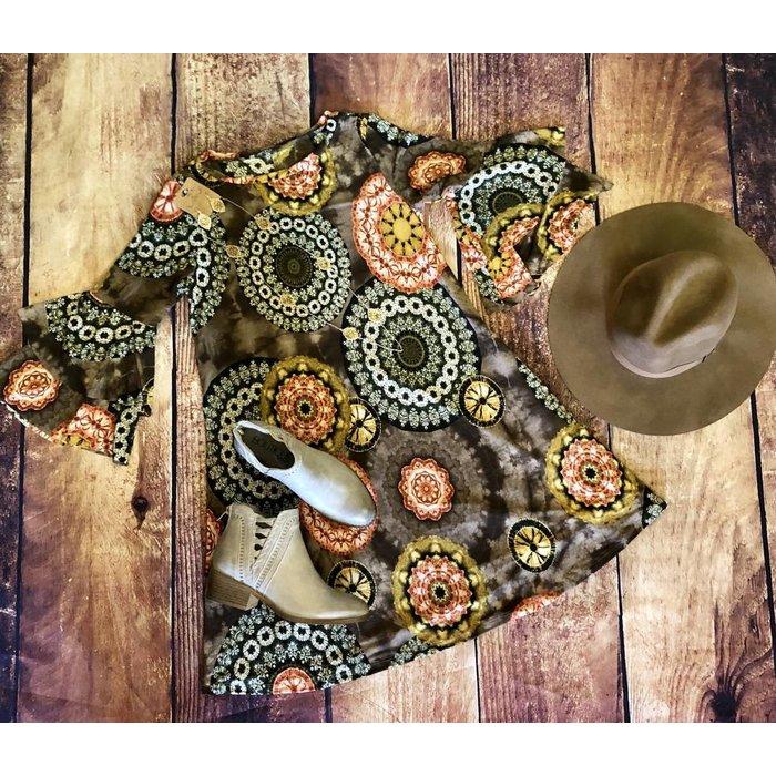 Mocha Boho Ruffle Sleeve Dress w/Pockets
