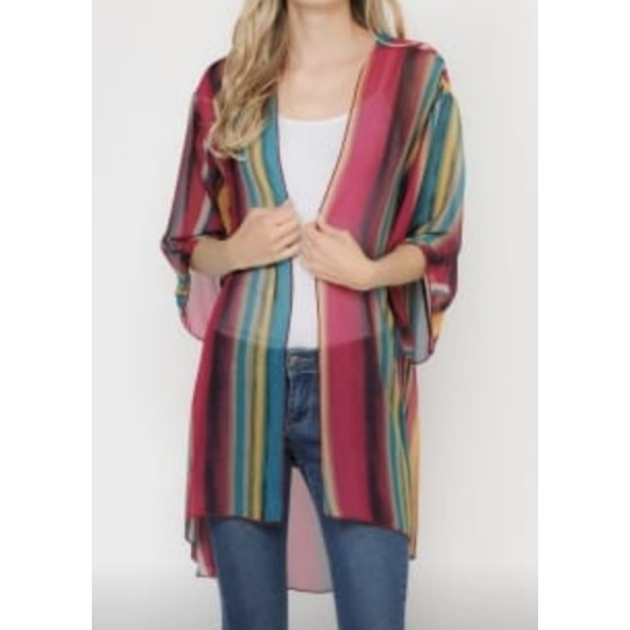 Striped Multi Color Sheer Kimono
