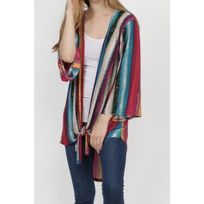 Multi Color Striped Front Tie Kimono