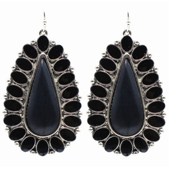 Black & Silver Teardrop Earring
