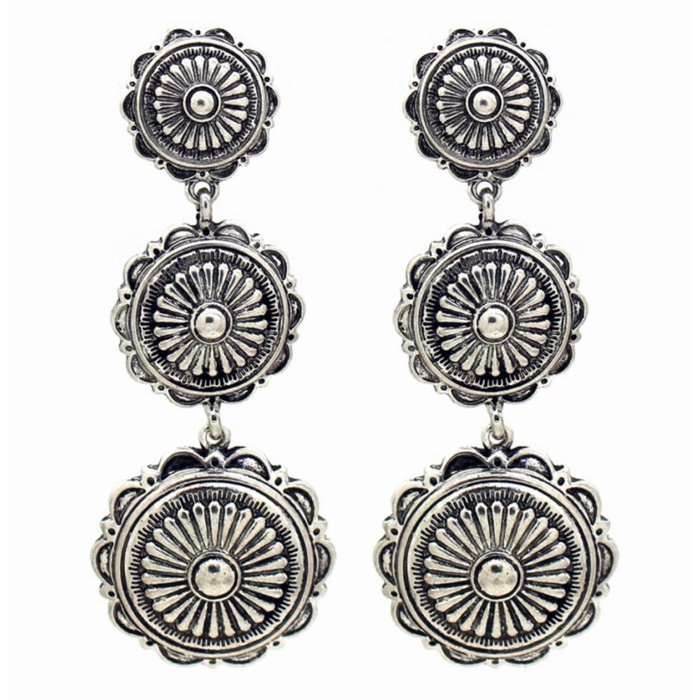 3-Teir Silver Concho Post Back Earring