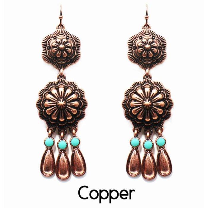 Copper Concho Dangle Earring
