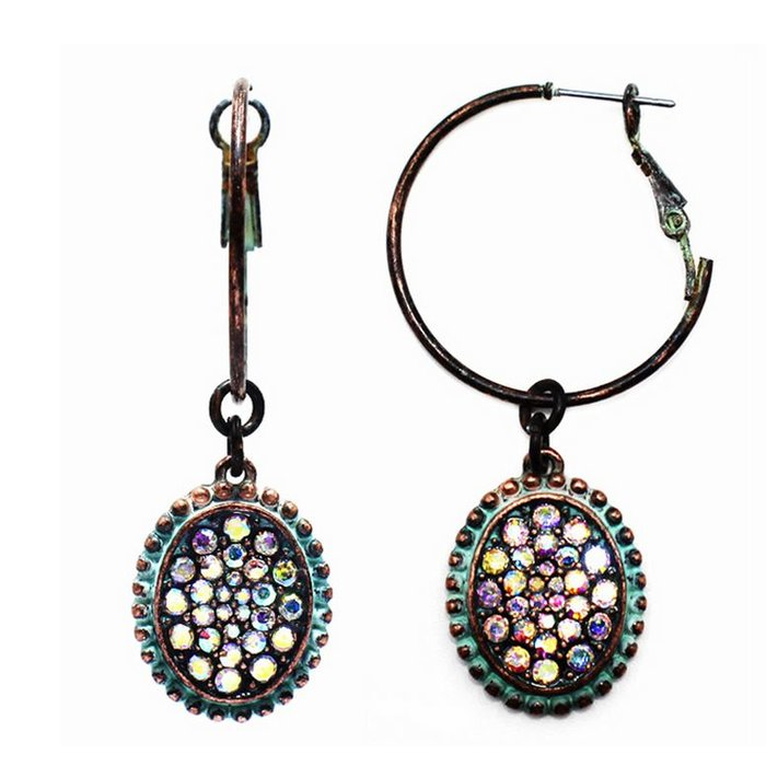 Patina Oval AB Earring on Hoop