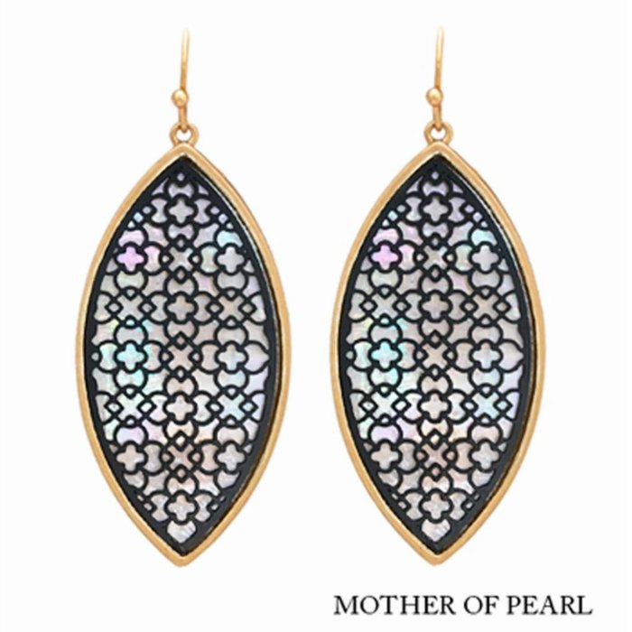 Washed Gold & Black Mother Of Pearl Earring