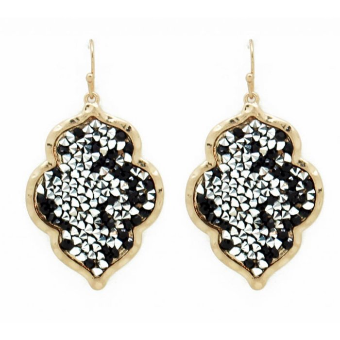 Black & Silver Glitter Chip on Gold Rim Earring