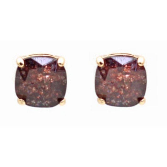 Burgundy Stud Earring
