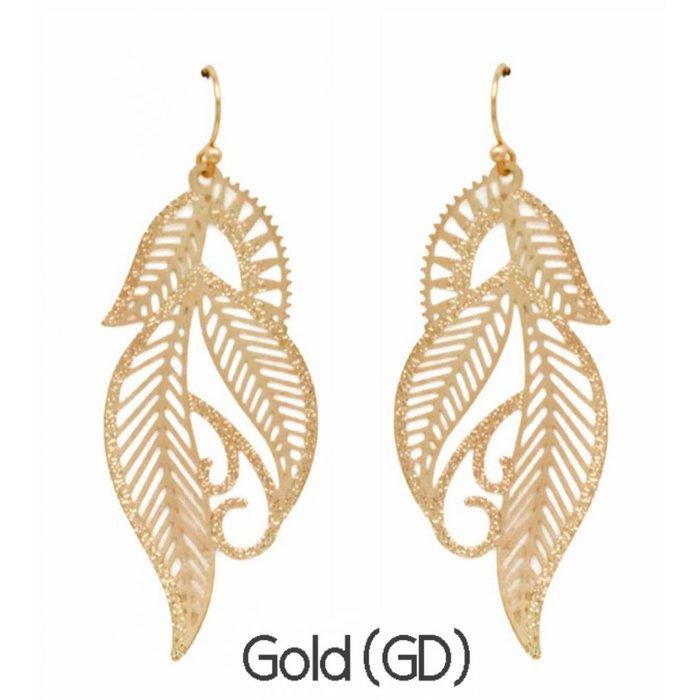Gold Leaf Filgree Earring