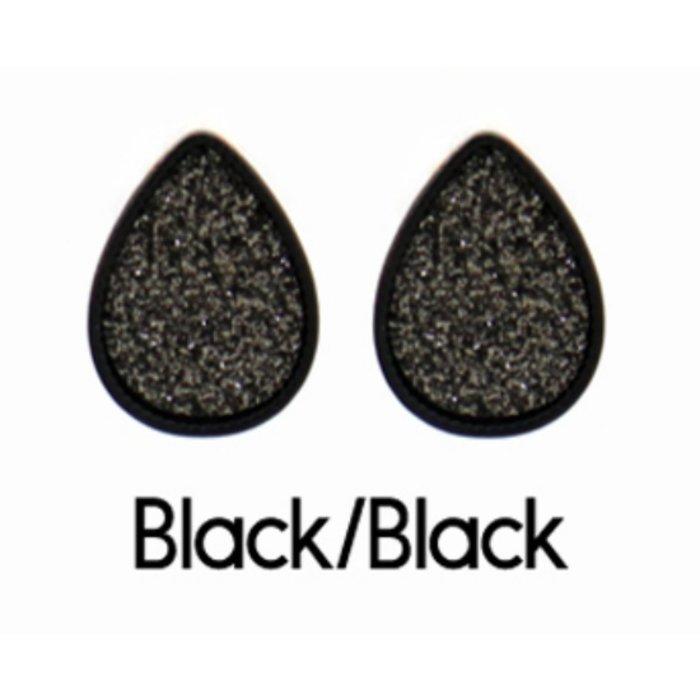 Black Glitter Teardrop Earrings