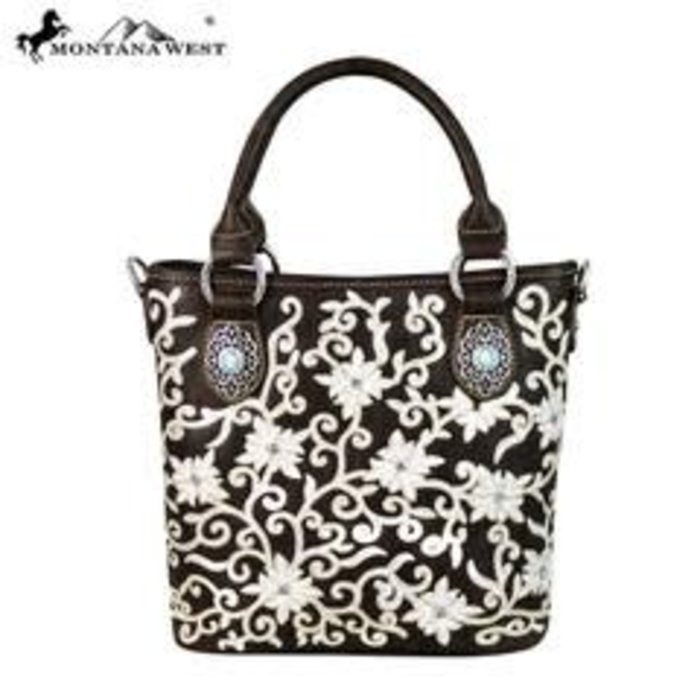 Coffee Floral Embroidered Tote Crossbody