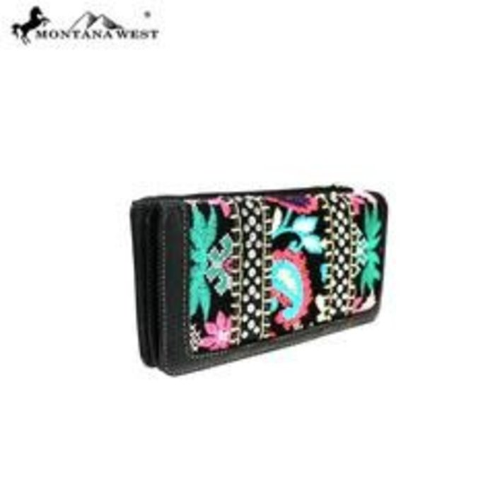 Black Floral Embroidered Studded Wallet