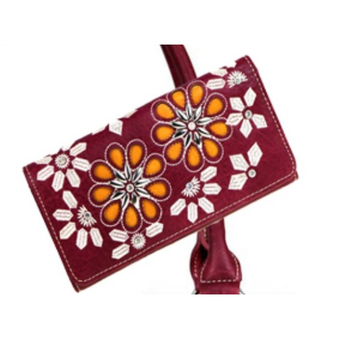 Burgundy Daisy Floral Embroidered Wallet