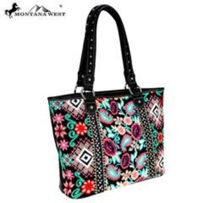 Black Floral Embroidered Studded Tote