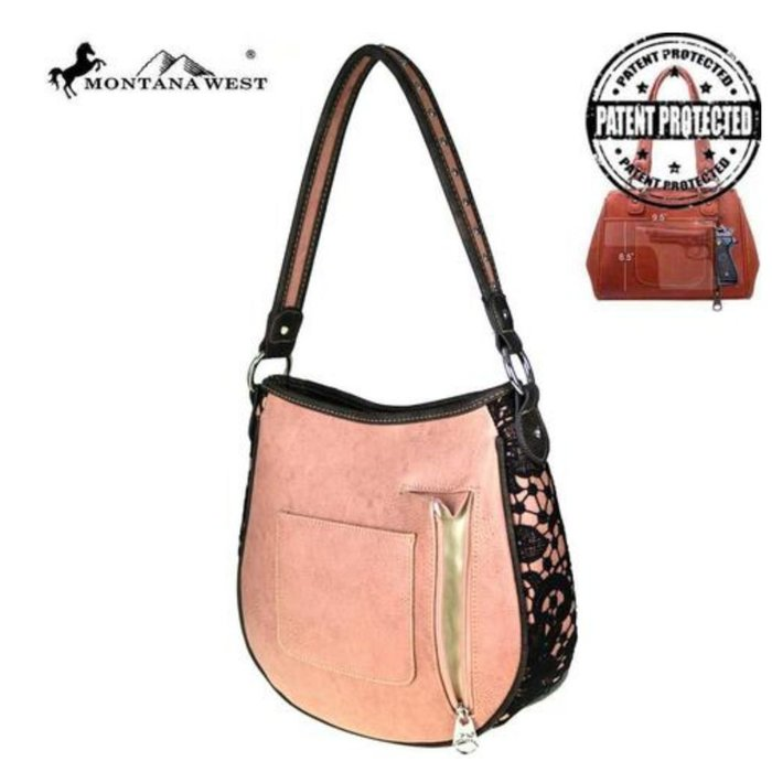Dusty Pink and Black Lace Concealed Handgun Hobo Tote