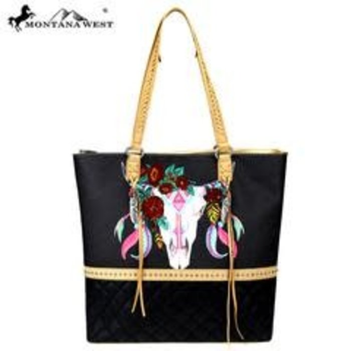 Floral Embroidered Steer Head Tote
