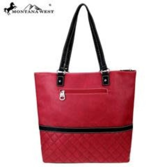 Red Aztec Quilted Design Embroidered Tote